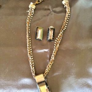 Chico's Bronze Necklace w/ Prism Pendant/ Earrings
